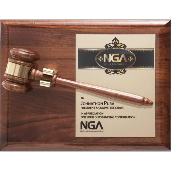 Personalized Removable Piano Finish Walnut Gavel Plaque