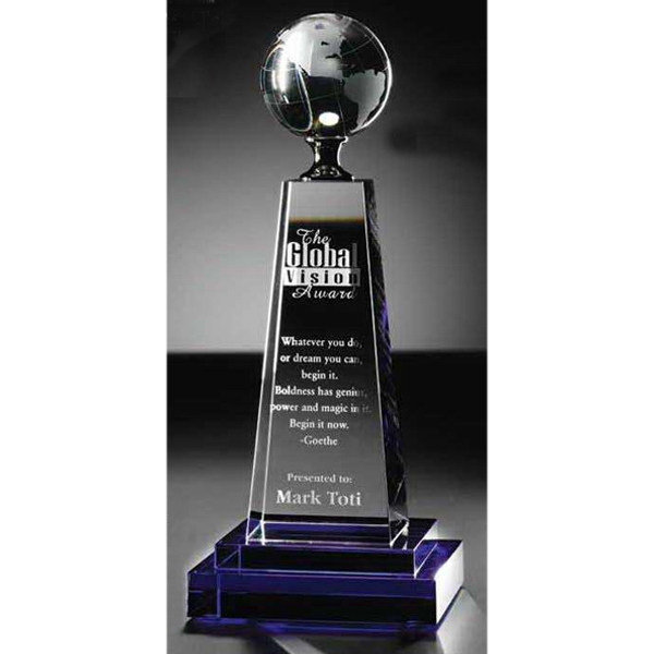 Personalized Global Vision Cobalt and Clear Optical Crystal Award