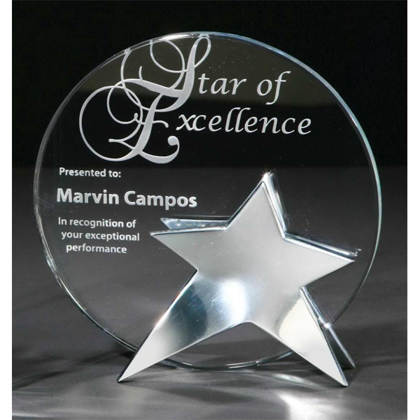 Imprinted Signature Series Beacon Starfire Crystal Award with Base