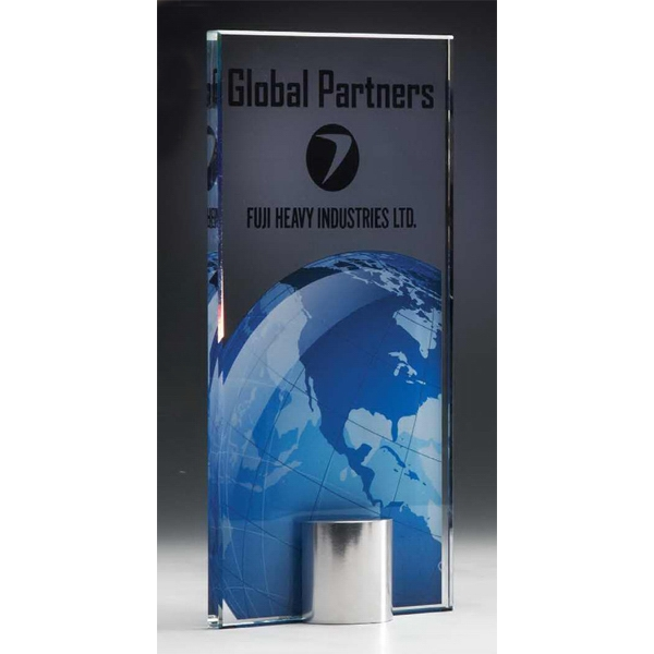 Custom Luminous World Global  Award on Polished Aluminum Base