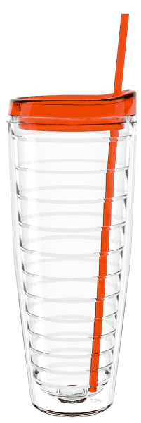 "Personalized 26 oz ""Shelby"" Clear Double Wall Tumbler lid & straw"