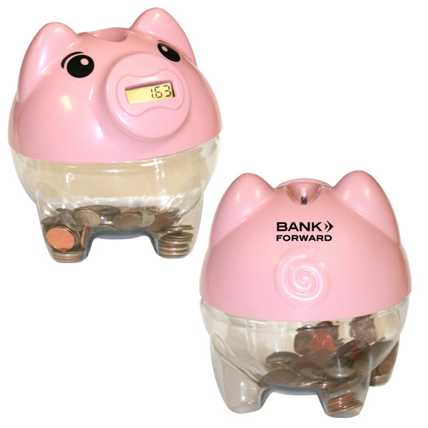 Imprinted Piggy Bank with Digital Coin Counter