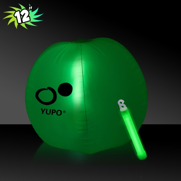 Imprinted Translucent Green Beach Ball with Glow light Stick