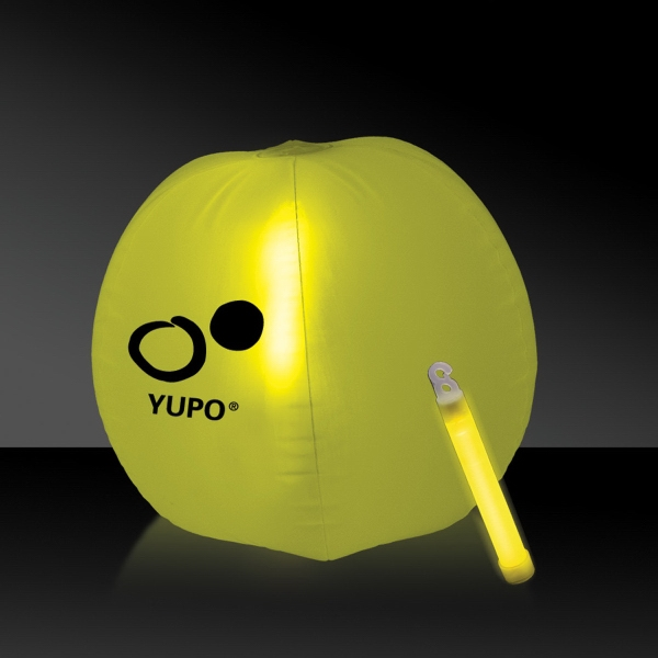 Promotional Translucent Yellow Beach Ball with Glow Light Stick