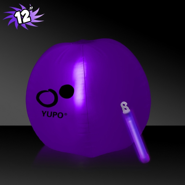 Promotional Translucent Purple Beach Ball with Glow light Stick
