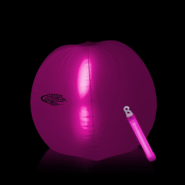 Imprinted Translucent Pink Beach Ball with glow Light Stick