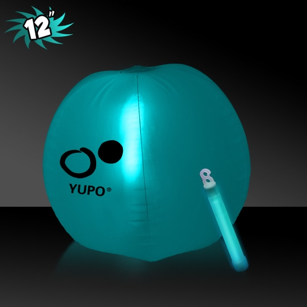 Printed Translucent Aqua Beach Ball with Glow light Stick