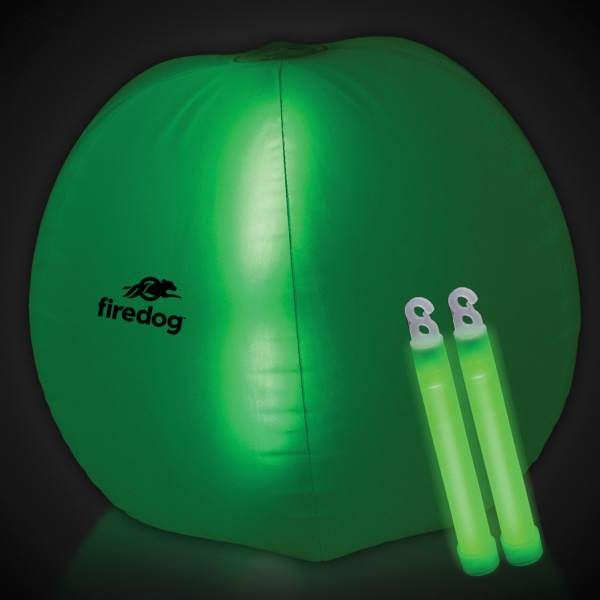"Promotional Translucent Green 24"" Inflatable Beach Ball with Glow Stick"