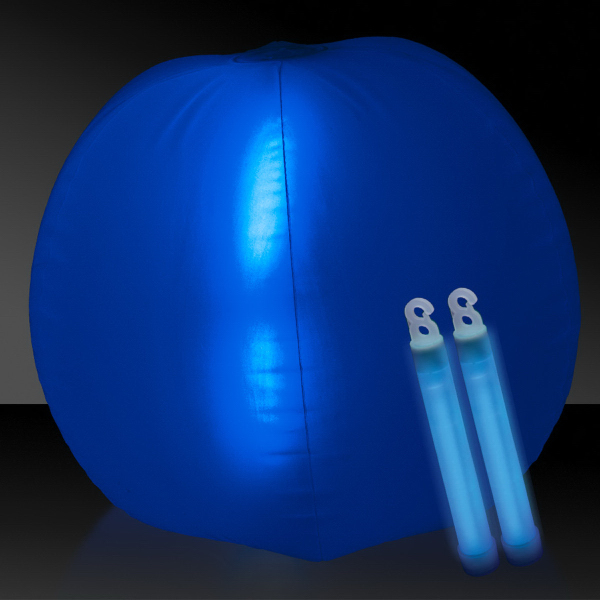 "Customized Translucent Blue 24"" Inflatable Beach Ball with Glow Stick"