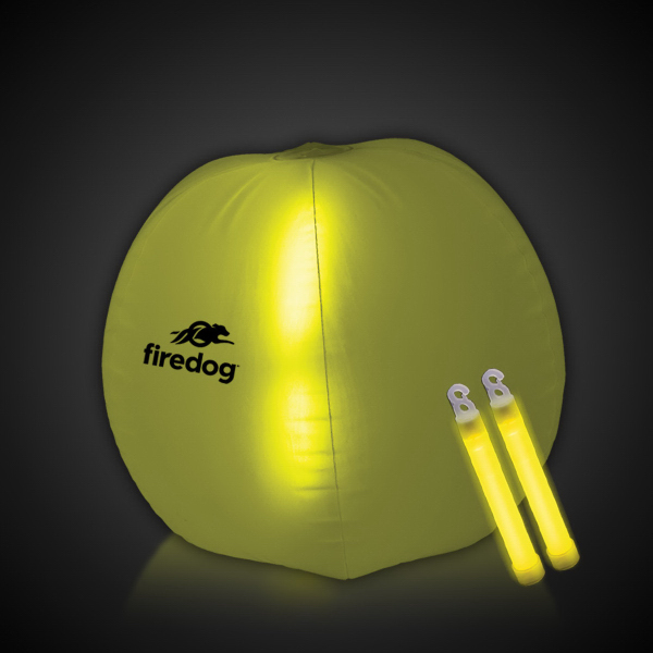 "Custom Translucent Yellow 24"" Inflatable Beach Ball with Glow Stick"
