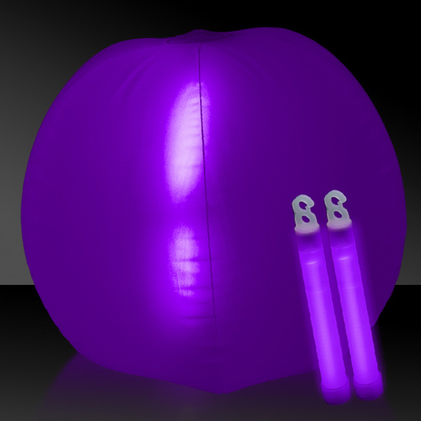 "Personalized Translucent Purple 24"" Inflatable Beach Ball with Glow Stick"