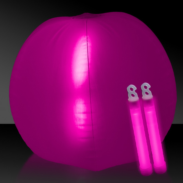 "Promotional Translucent Pink 24"" Inflatable Beach Ball with Glow Stick"