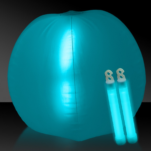 "Printed Translucent Aqua 24"" Inflatable Beach Ball with Glow Stick"