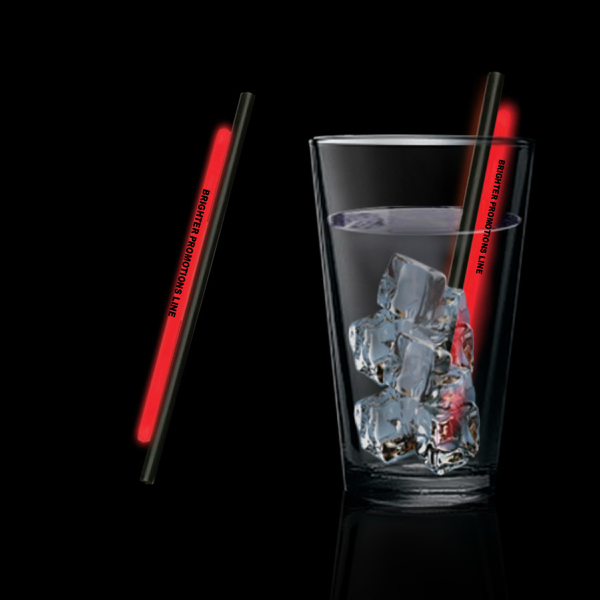 """Personalized Red 5"""" Light Up Glow Straw"""