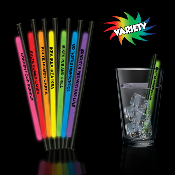 "Imprinted Variety Pack 5"" Light Up Glow Straw"