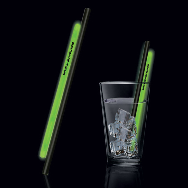 "Customized Green 9"" Light Up Glow Straw"
