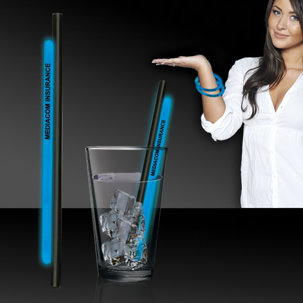 "Customized Blue 9""Light Up Glow Straw"
