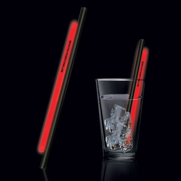 "Custom Red 9"" Light Up Glow Straw"