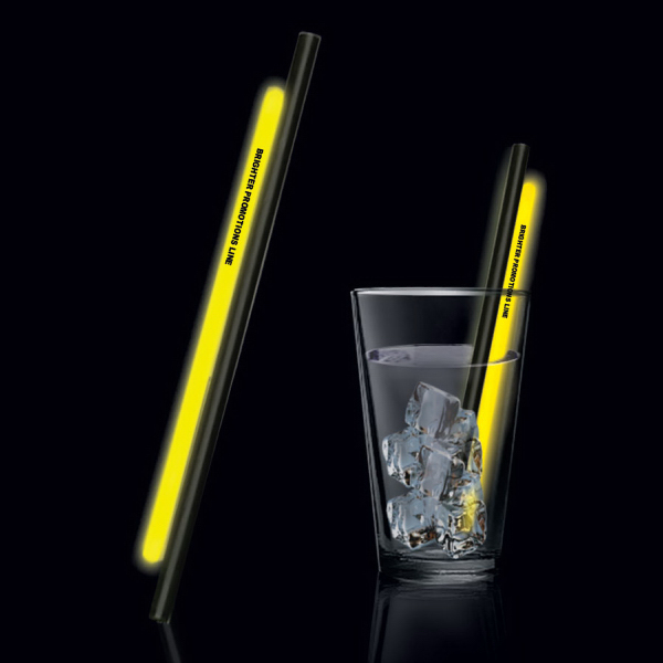 "Customized Yellow 9"" Light Up Glow Straw"