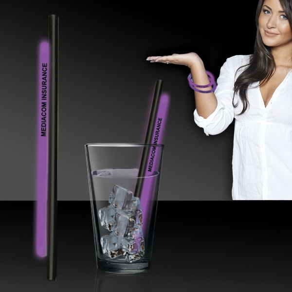 "Imprinted Purple 9"" Light Up Glow Straw"