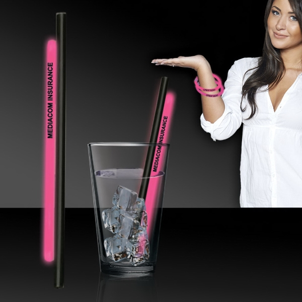 "Custom Pink 9"" Light Up Glow Straw"