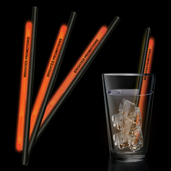 "Custom Orange 9"" Light Up Glow Straw"