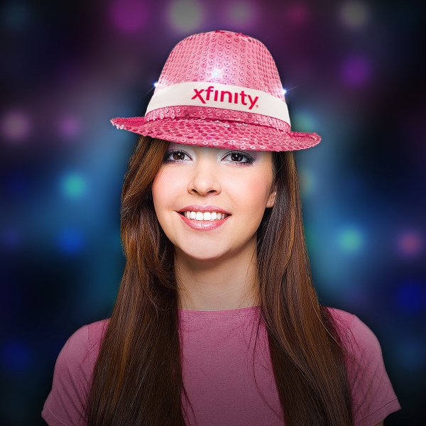 Personalized Pink Sequin LED Light Up Costume Fedora