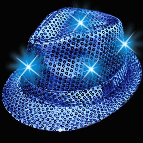 Promotional Blue Sequin LED Light Up Costume Fedora