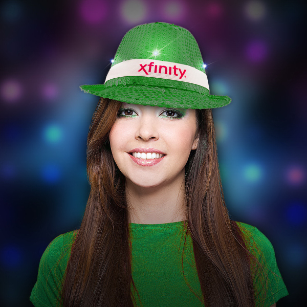 Custom Green Sequin LED Light Up Costume Fedora