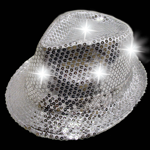 Custom Silver Sequin LED Light Up Costume Fedora