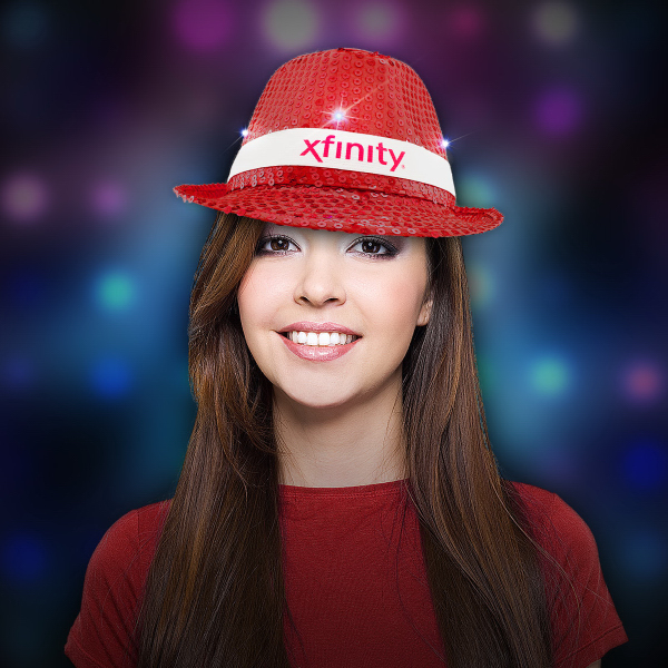 Imprinted Red Sequin LED Light up Costume Fedora