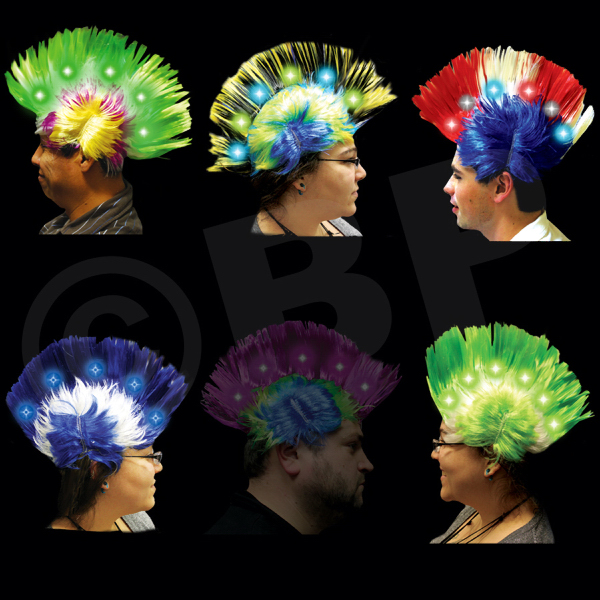 Promotional Light Up LED Mohawk Costume Wig