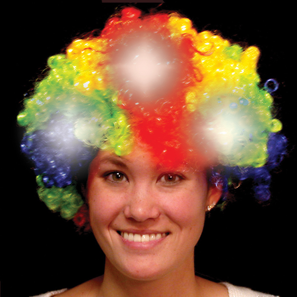 Promotional Rainbow Light Up LED Spirit Costume Wig
