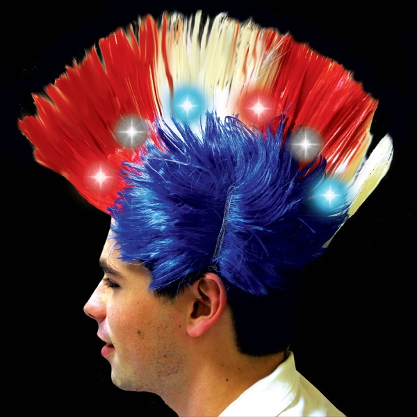 Imprinted Red White & Blue Light Up LED Mohawk Costume Wig