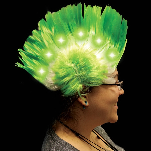 Imprinted Green Light Up LED Mohawk Costume Wig