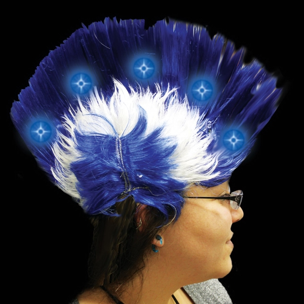 Imprinted Blue Light Up LED Mohawk Costume Wig