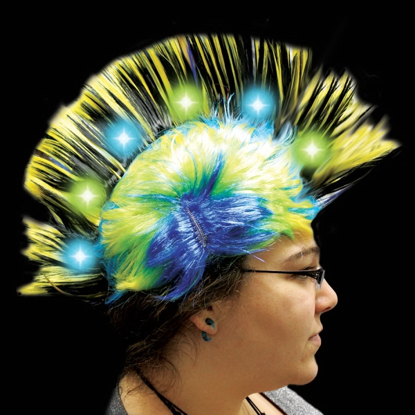 Printed Yellow Light Up LED Mohawk Costume Wig