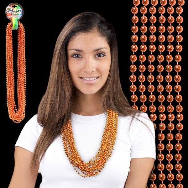 Imprinted Orange Metallic Beaded Mardi Gras Beads Necklace