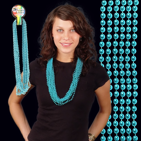 Customized Teal Metallic Beaded Necklace