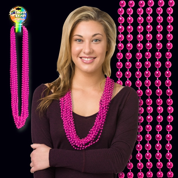 Imprinted Hot Pink Metallic Beaded Necklace