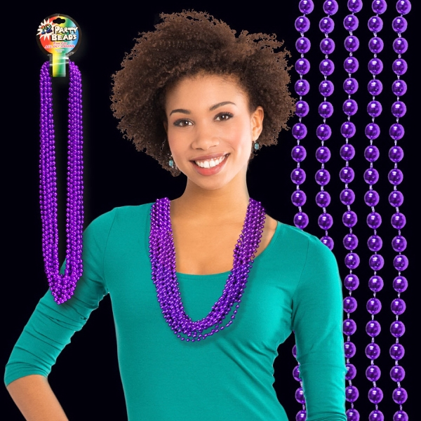 Customized Purple Metallic Beaded Necklace