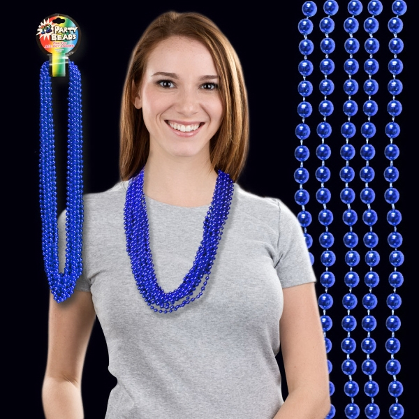 Imprinted Blue Metallic Beaded Necklace