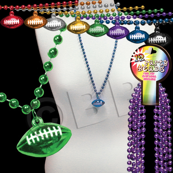 Imprinted Beaded Necklace with Football Pendant