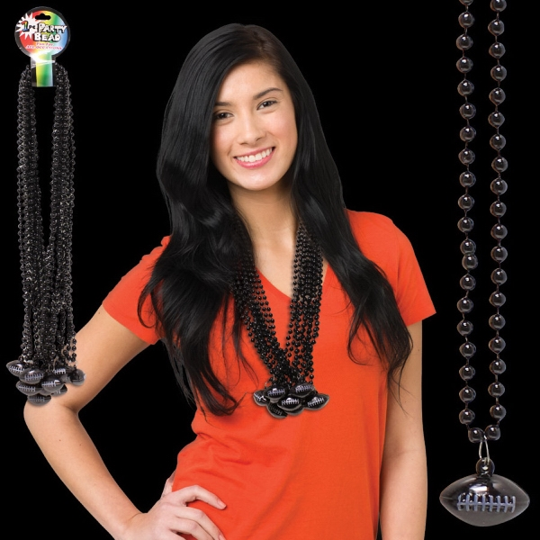 Imprinted Black Beaded Necklace with Football Pendant