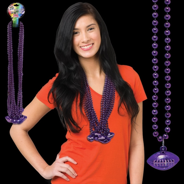 Personalized Purple Beaded Necklace with Football Pendant