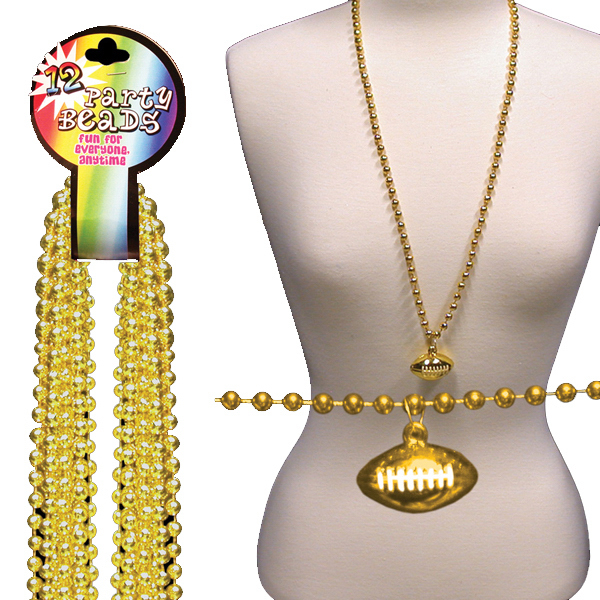 Imprinted Gold Beaded Necklace with Football Pendant