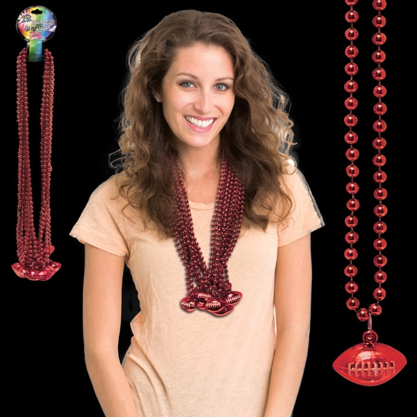 Customized Red Beaded Necklace with Football Pendant