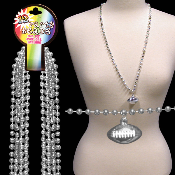 Custom Silver Beaded Necklace with Football Pendant