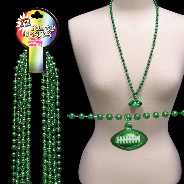 Personalized Green Beaded Necklace with Football Pendant