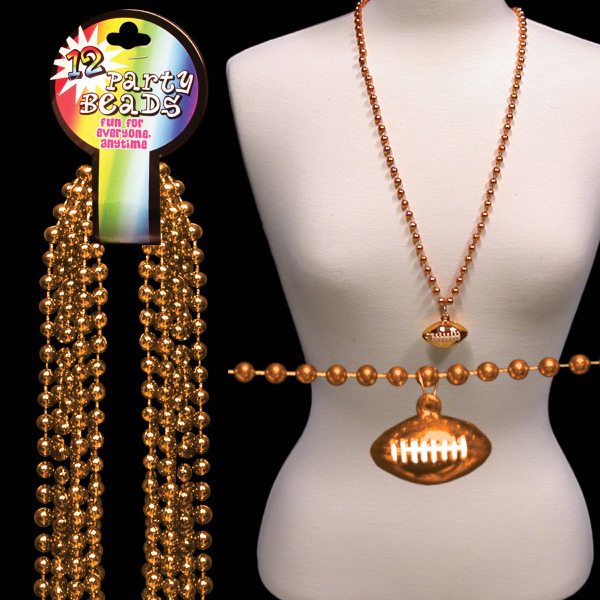 Imprinted Orange Beaded Necklace with Football Pendant